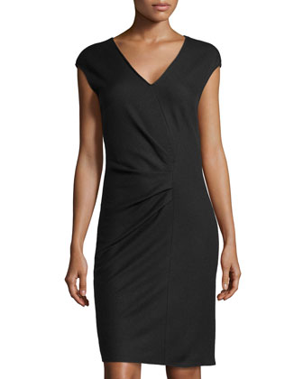 Faux-Wrap Wool Dress, Coal