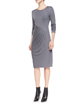 Long-Sleeve Diagonal Pleat Dress