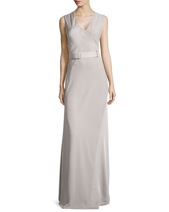 Sleeveless V-Neck Satin Gown, Atmosphere