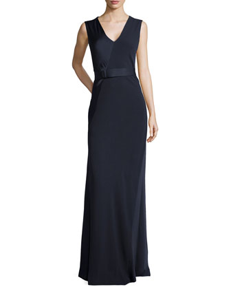 Sleeveless V-Neck Satin Gown, Navy