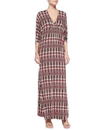 Florence Printed Jersey Long Caftan, Women's, Samba Arizona