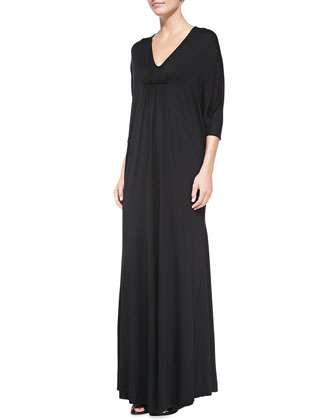 Florence Jersey Long Caftan, Black