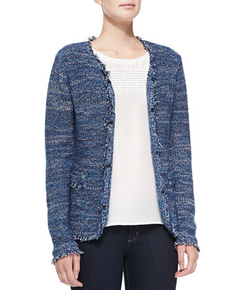 Hook-Front Fringed Tweed Jacket