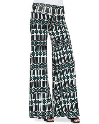 Printed Jersey Wide-Leg Trousers, Women's
