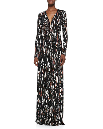 Long-Sleeve Printed Caftan Maxi Dress, Women's