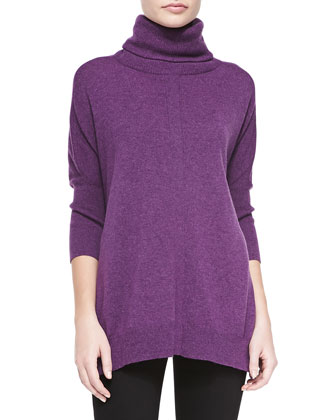 3/4-Sleeve Cashmere Turtleneck Tunic