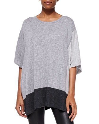 Cashmere Elbow-Sleeve Colorblock Poncho