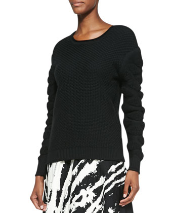 Tufted-Pattern Knit Pullover Sweater, Black
