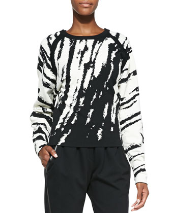 Core Zebra-Stripe Knit Pullover & Leather-Trim Pull-On Track Pants