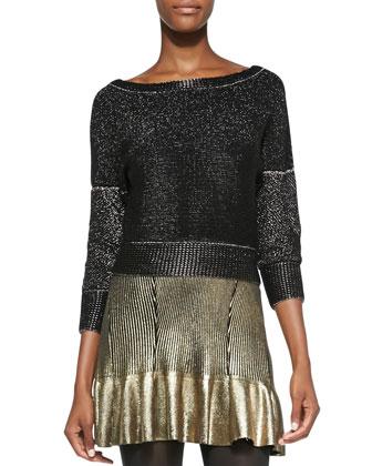 Shimmery Metallic Knit Boat-Neck Sweater