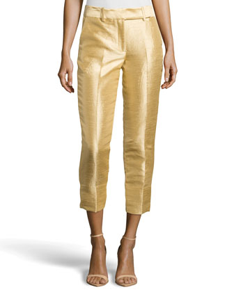 Cropped Dupioni Ankle Pants, Gold
