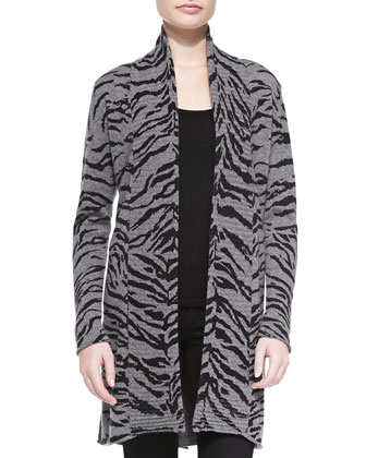 Open-Front Tiger Cashmere Cardigan