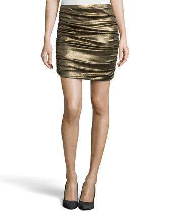 Ruched Foil Jersey Skirt, Gold