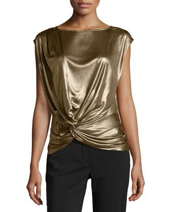 Twisted Draped Lam?? Top, Gold