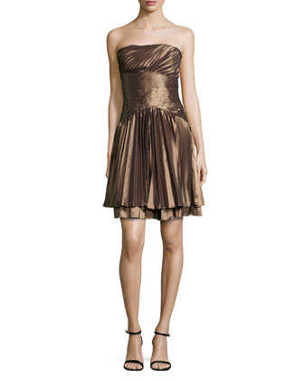 Strapless Pleated Taffeta Dress, Bronze