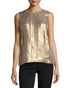 Sleeveless Pleated Shimmer Top, Gold