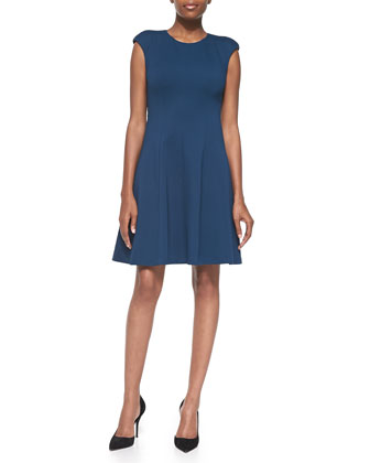 Caley Cap-Sleeve Fit-and-Flare Dress
