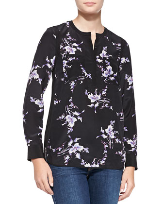 Grapevine-Print Double-Pocket Silk Top