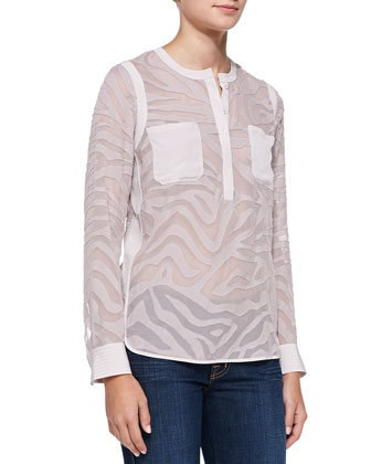 Tiger-Print Sheer Georgette Top
