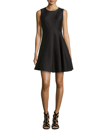 Sleeveless Pleated Sateen Dress, Black