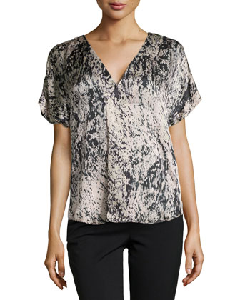 Splatter Print Crossover Top, Charcoal