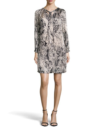 Long-Sleeve Pleat-Neck Printed Charmeuse Dress, Charcoal