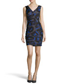 Sleeveless Print Ruched Crepe Dress, Cobalt
