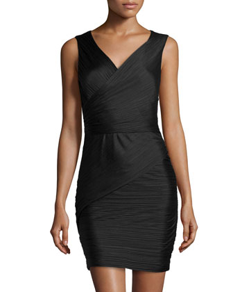 Sleeveless Ruched Charmeuse Dress, Black