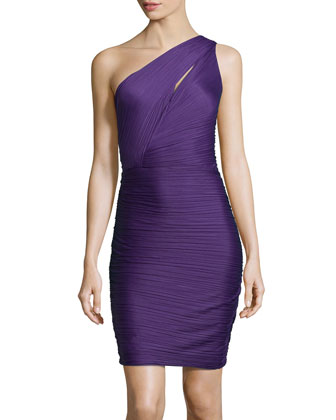 One-Shoulder Ruched Crepe Dress, Purple