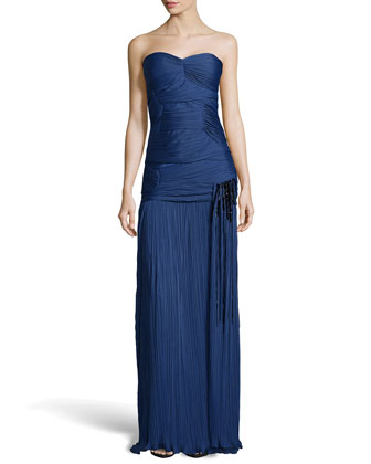 Strapless Ruched Charmeuse Gown, Indigo