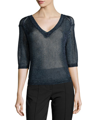 V-Neck Open-Mesh Sweater, Navy