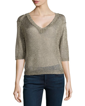 V-Neck Open-Mesh Sweater, Gold