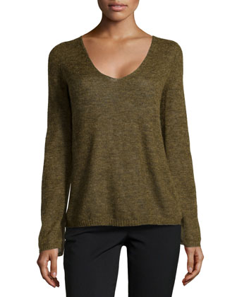 V-Neck Brush Knit Sweater, Olive