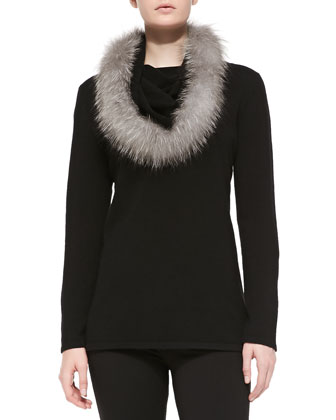 Cowl-Neck Fur-Trim Cashmere Sweater