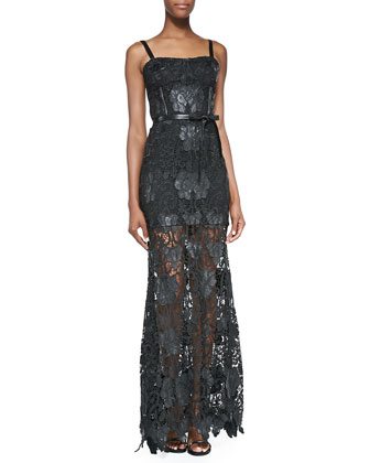 Monzon Lace-Overlay Gown, Jet Black