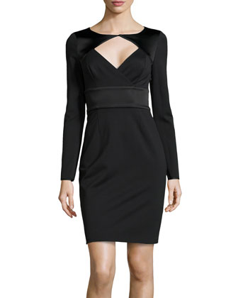 Long-Sleeve Open-Diamond Stretch-Knit Dress, Black