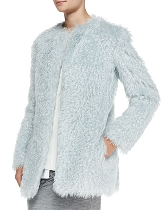 Long-Sleeve Pastel Mohair Coat, Pleated Layered Sleeveless Silk Blouse & ...