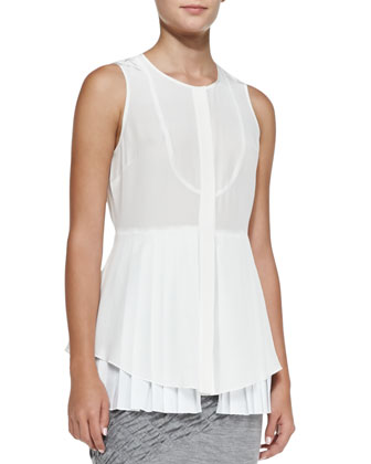 Pleated Layered Sleeveless Silk Blouse