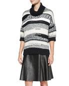 Loose Striped Knit Turtleneck Sweater