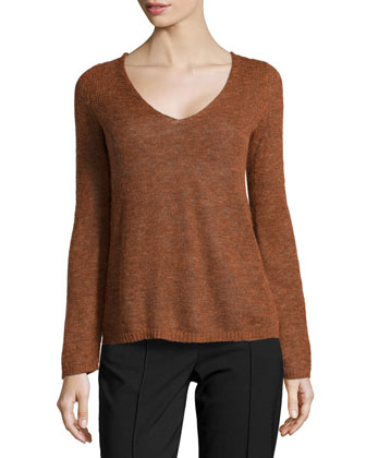 V-Neck Brush Knit Sweater, Rust