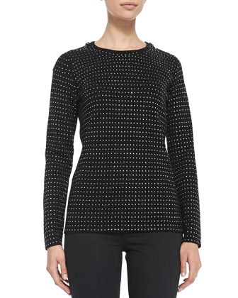 Sequined Cashmere Sweater with Zip Detail