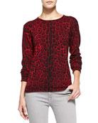 Leopard-Print Cashmere Pullover