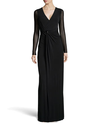 Long-Sleeve Wrap Stretch Gown, Black