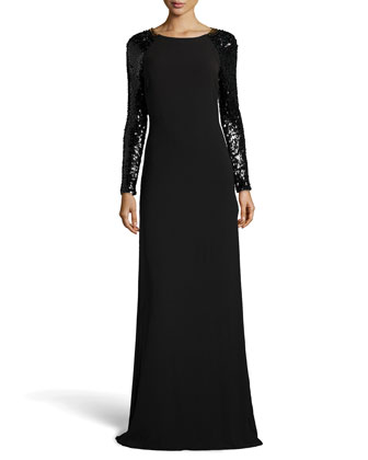 Open-Back Long-Sleeve Knit Gown, Black
