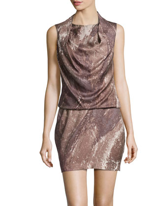Sleeveless Draped Print Dress, Taupe