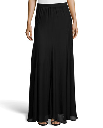 Paneled Chiffon Maxi Skirt, Black
