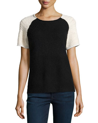 Short-Sleeve Colorblock Knit Sweater, Black/Cream