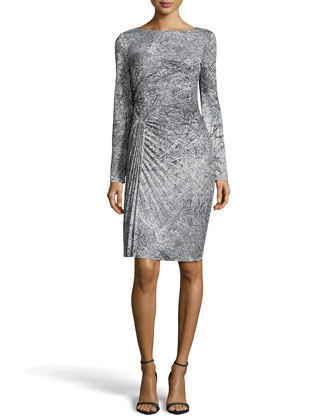 Long-Sleeve Pleated Print Dress, Charcoal