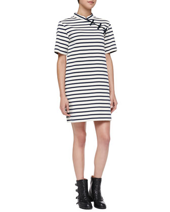 Jacquelyn Striped Mandarin Dress