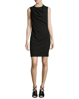 Drape-Neck Crepe Dress, Black